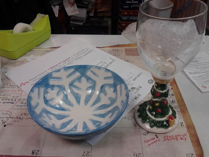 The finished bowl and wine glass.
