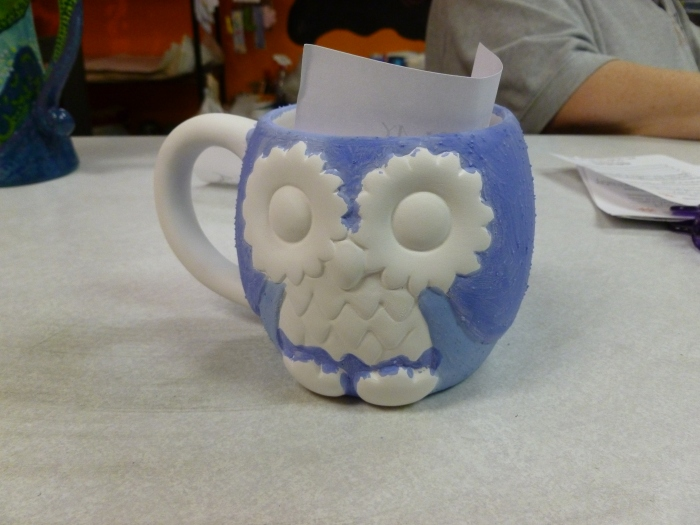 This is the owl cup I was painting. It wasn't finished that night, but I will be finishing it this week.