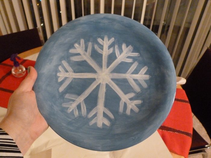 This is the finished snow flake plate.