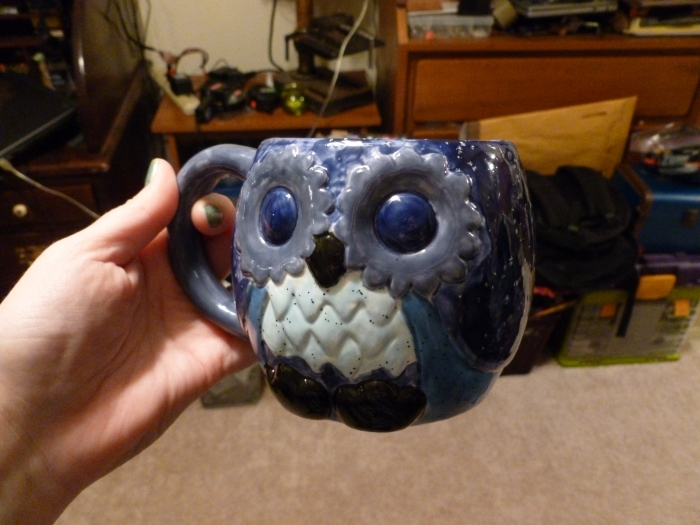 It's a blue owl coffee cup!