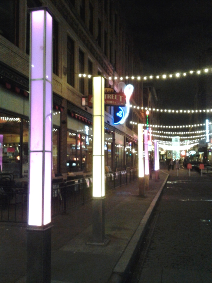 Looking down the lighted up 4th Street.