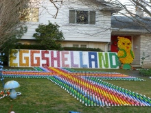 The eggshelland sign and cross.