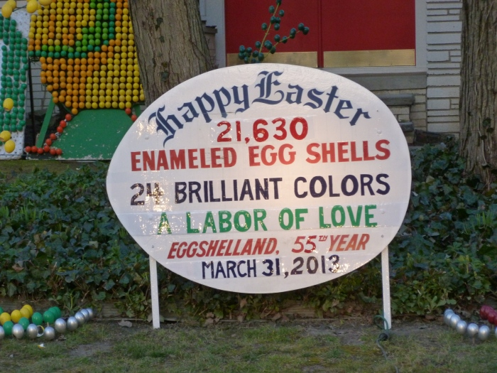 The sign with the total egg count for this year.