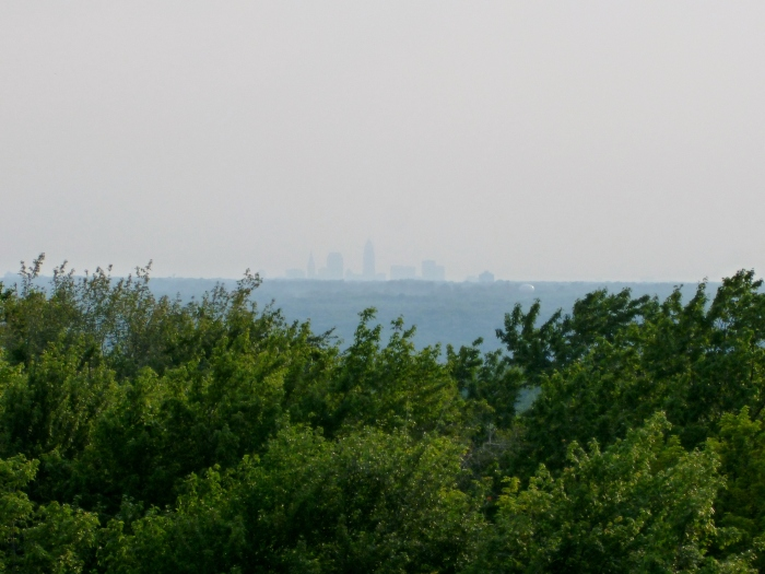 It's faint, but there's Cleveland from just over 20 miles away!  I just wish I had a zoom lens. :)