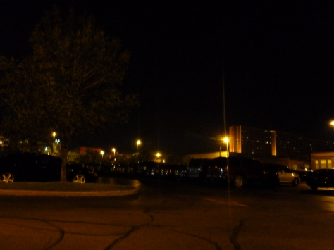 Photo of the parking lot from my camping chair. In the dark. On the west side of Cleveland.
