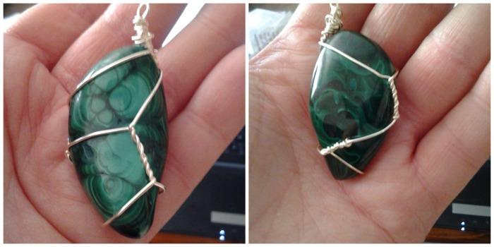 My wrapped malachite stone necklace!