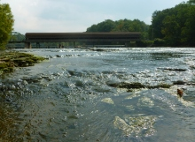 Harpersfield Covered Bridge.  Yes, I actually stood in the river for this one. It felt good on such a hot day. :)