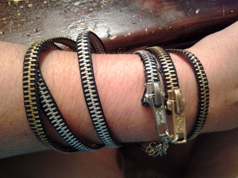I made a double zipper wrap bracelet!