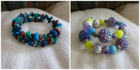 My mom has been helping me make beaded memory wire bracelets.