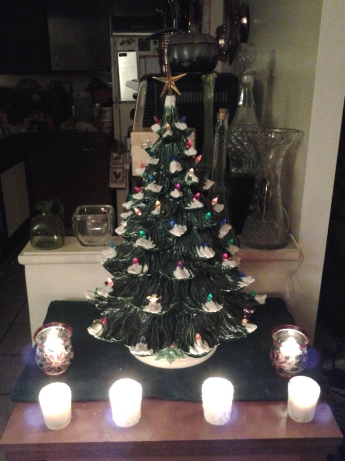 I set up my grandmother's ceramic tree...