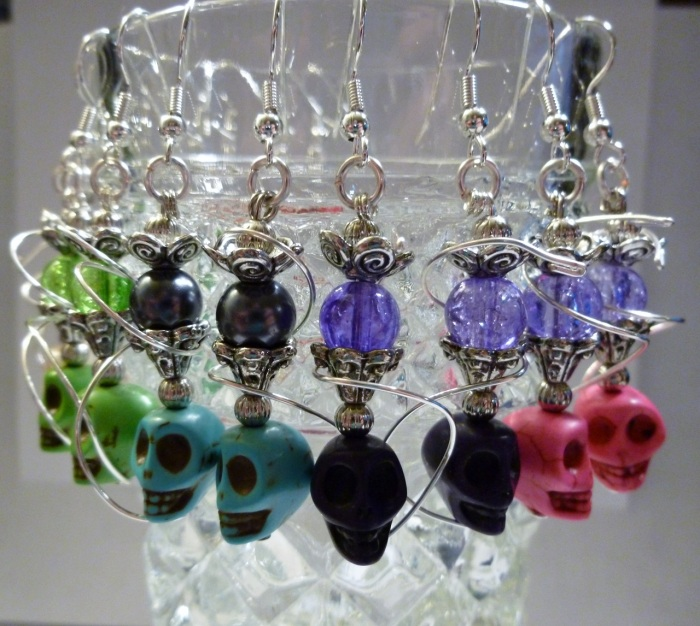 Skull hookah earrings add a unique twist on my hookah jewelry.  A rainbow of colors to choose from!