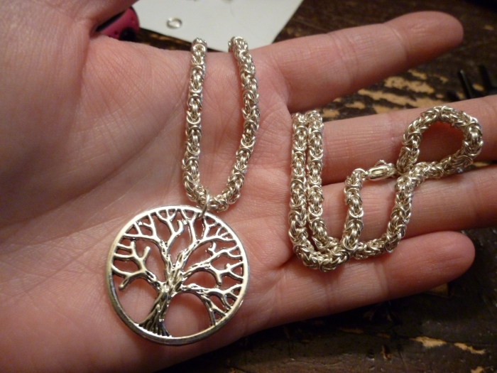 I made this extremely thin byzantine tree of life necklace for myself, but will be also offering these in the shop and upcoming shows.