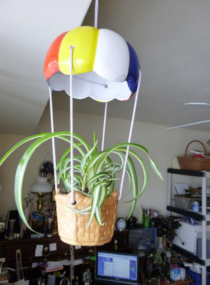 This was my mom's hot air balloon planter that I rescued from her selling in a garage sale.  I just had to put it to use. :)
