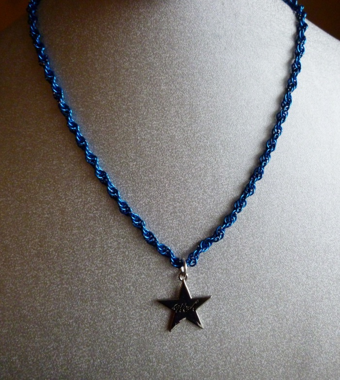 Twisted Blue Wish Star Necklace