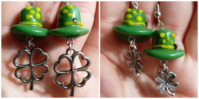 Leprechaun hats with shamrocks earrings!  Perfect to wear when you do a little jig.