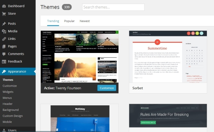 You can find themes under the Appearance tab on the left hand side of your dashboard.